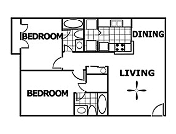 883 sq. ft. floor plan