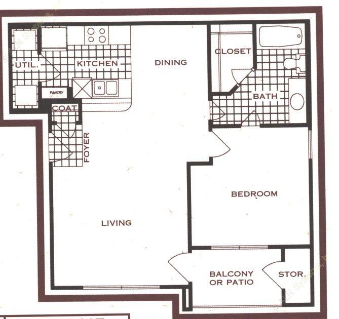 738 sq. ft. floor plan