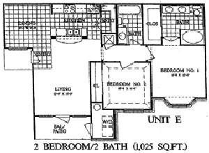 1,025 sq. ft. Evergreen floor plan