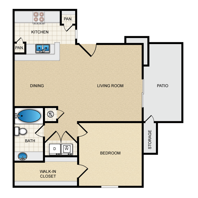 650 sq. ft. Ph1 A2 floor plan