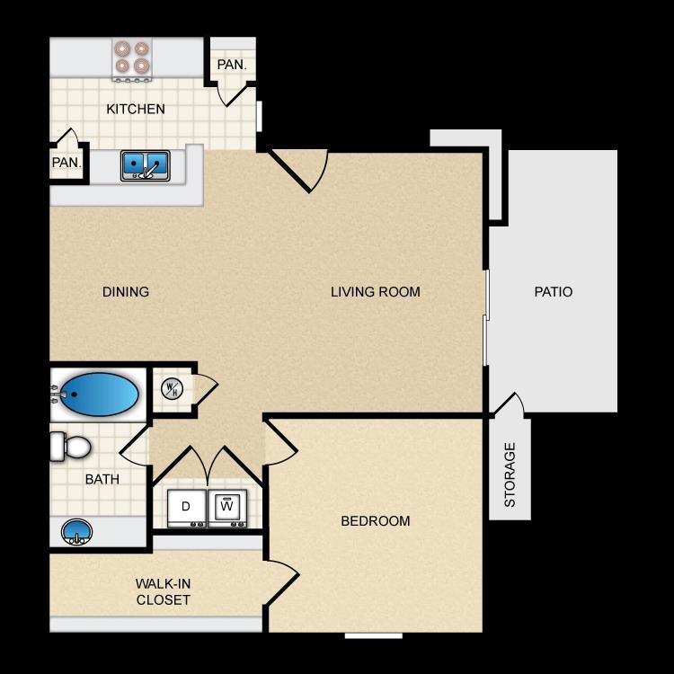 650 sq. ft. Ph1 A2 floor plan
