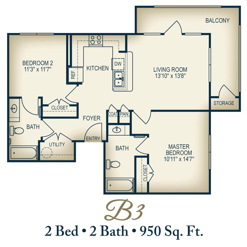 950 sq. ft. B1/60% floor plan