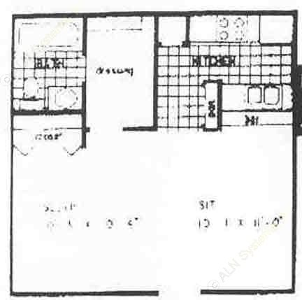 448 sq. ft. E1 floor plan