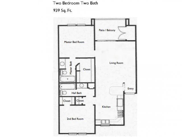939 sq. ft. B2 floor plan