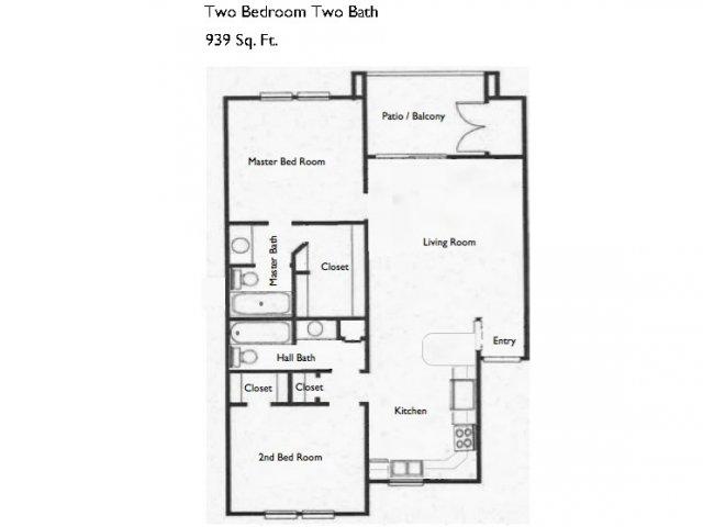 939 sq. ft. B2 floor plan