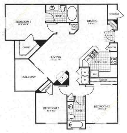 1,262 sq. ft. C1 floor plan