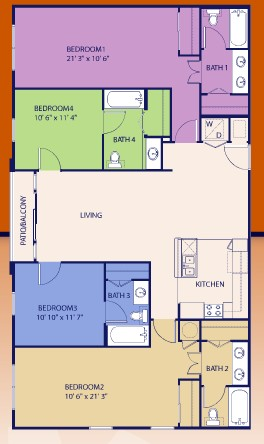 1,698 sq. ft. Four floor plan