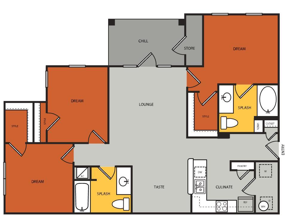 1,227 sq. ft. C1 floor plan