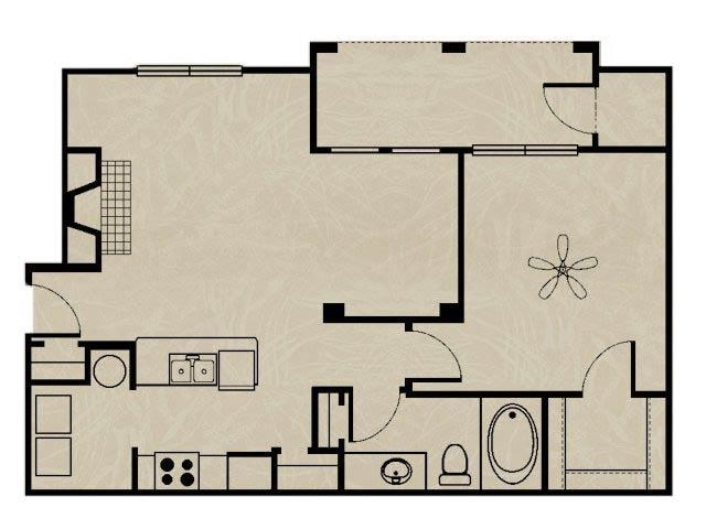798 sq. ft. WNRA2 1X1 floor plan