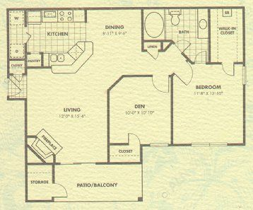912 sq. ft. Aspen floor plan