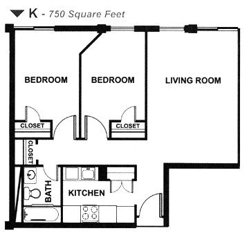 750 sq. ft. K floor plan