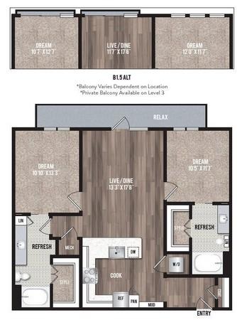 1,080 sq. ft. B1.4 floor plan