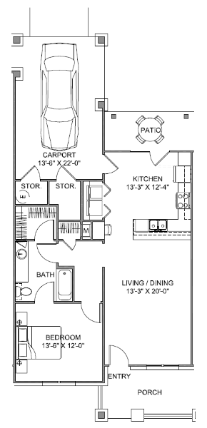 850 sq. ft. Courtyard 60 floor plan
