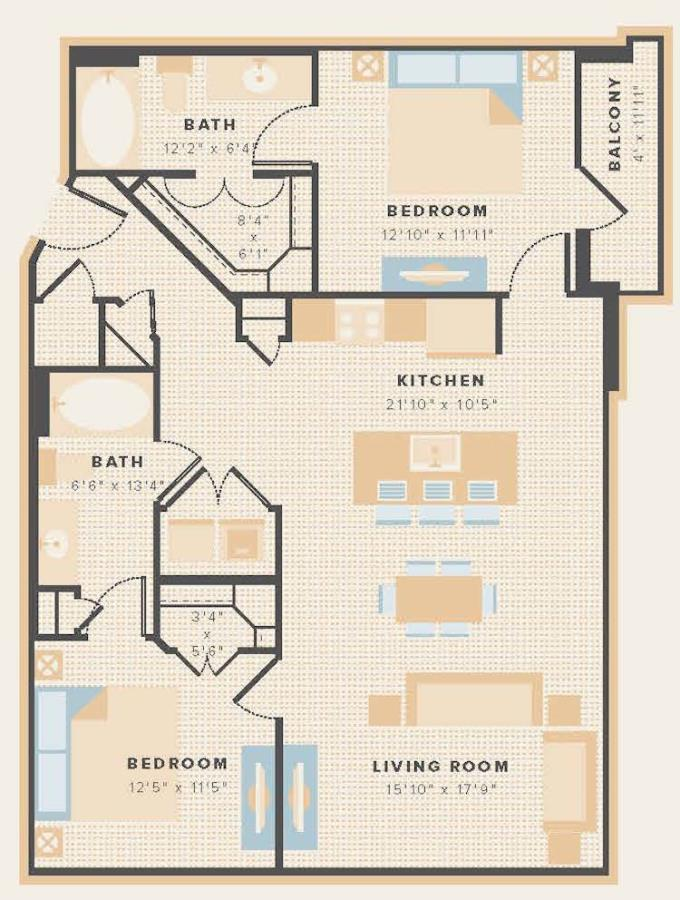 1,110 sq. ft. B3a floor plan