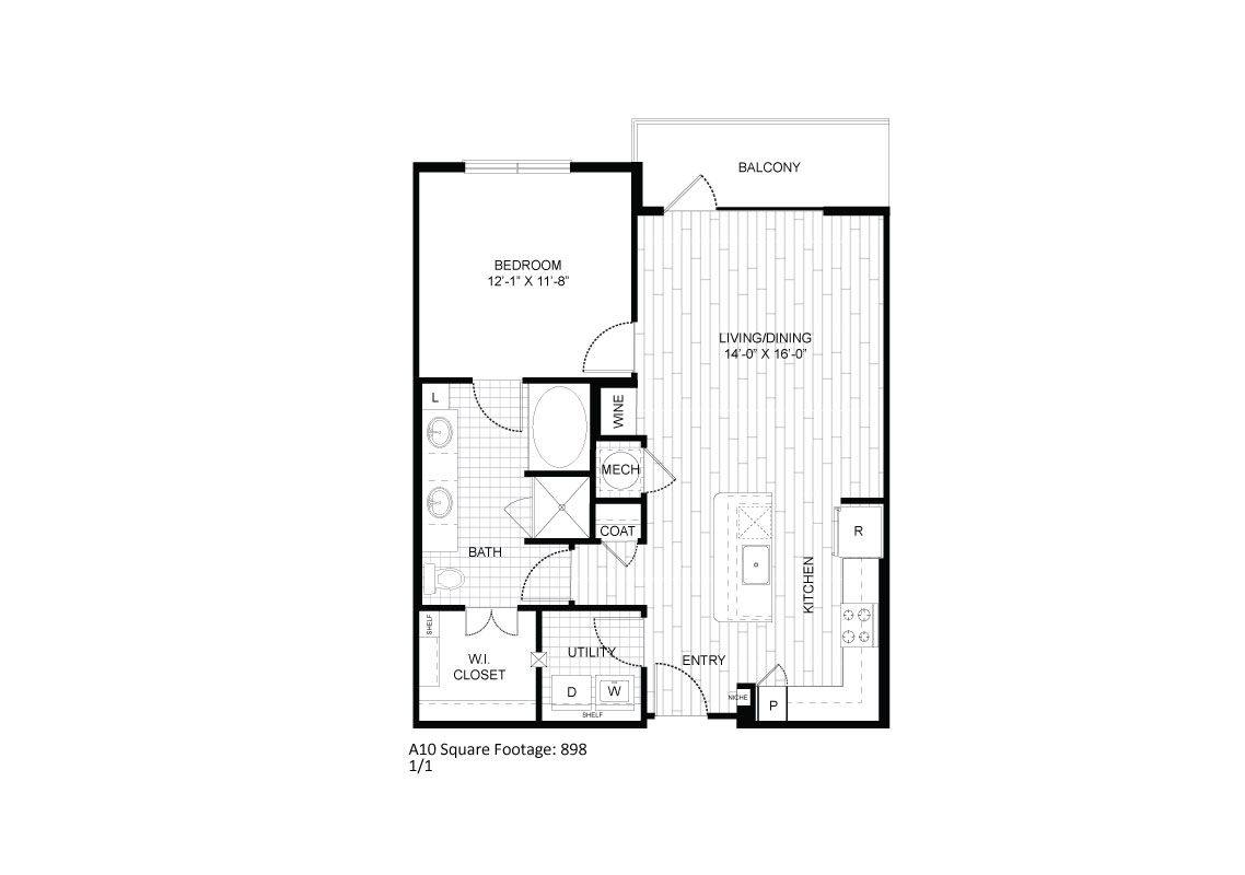 898 sq. ft. A10 floor plan