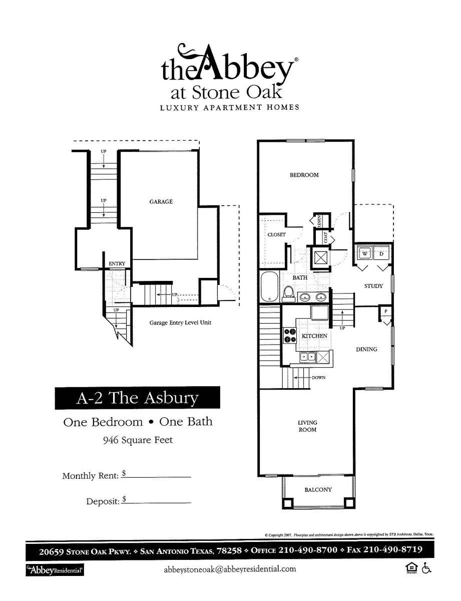 946 sq. ft. Asbury floor plan