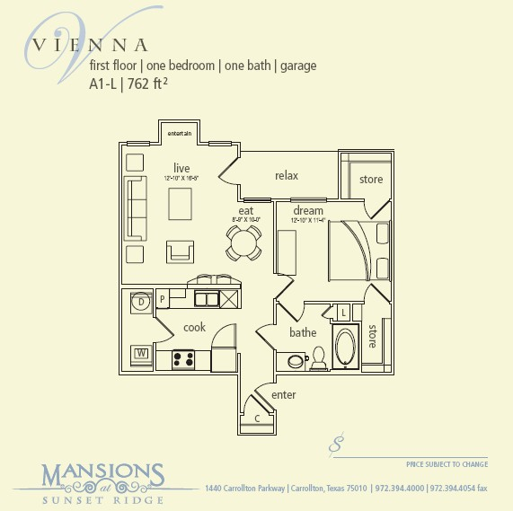 762 sq. ft. Vienna floor plan