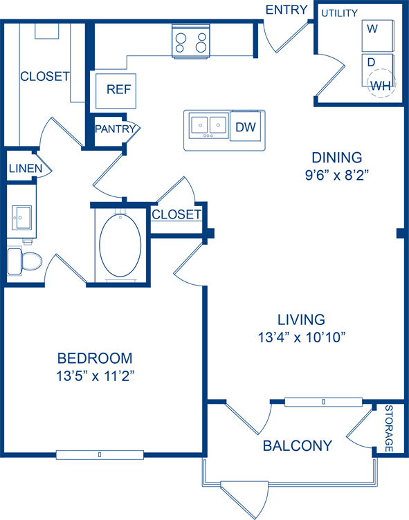 798 sq. ft. Firewheel floor plan