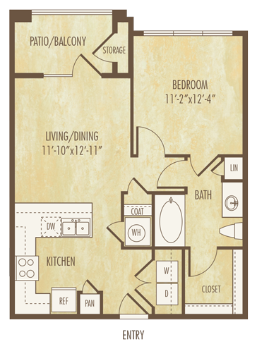 659 sq. ft. to 679 sq. ft. A1b floor plan