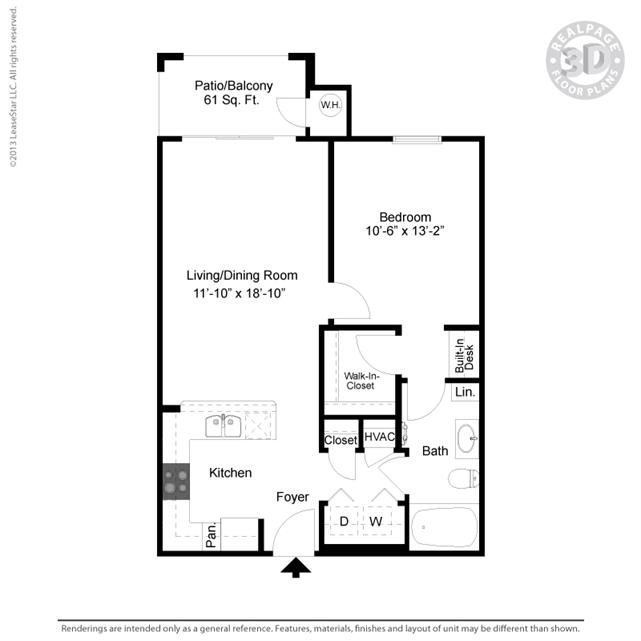 700 sq. ft. A5 floor plan