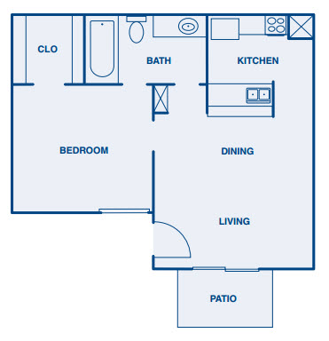 532 sq. ft. A1 floor plan