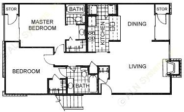 972 sq. ft. E floor plan