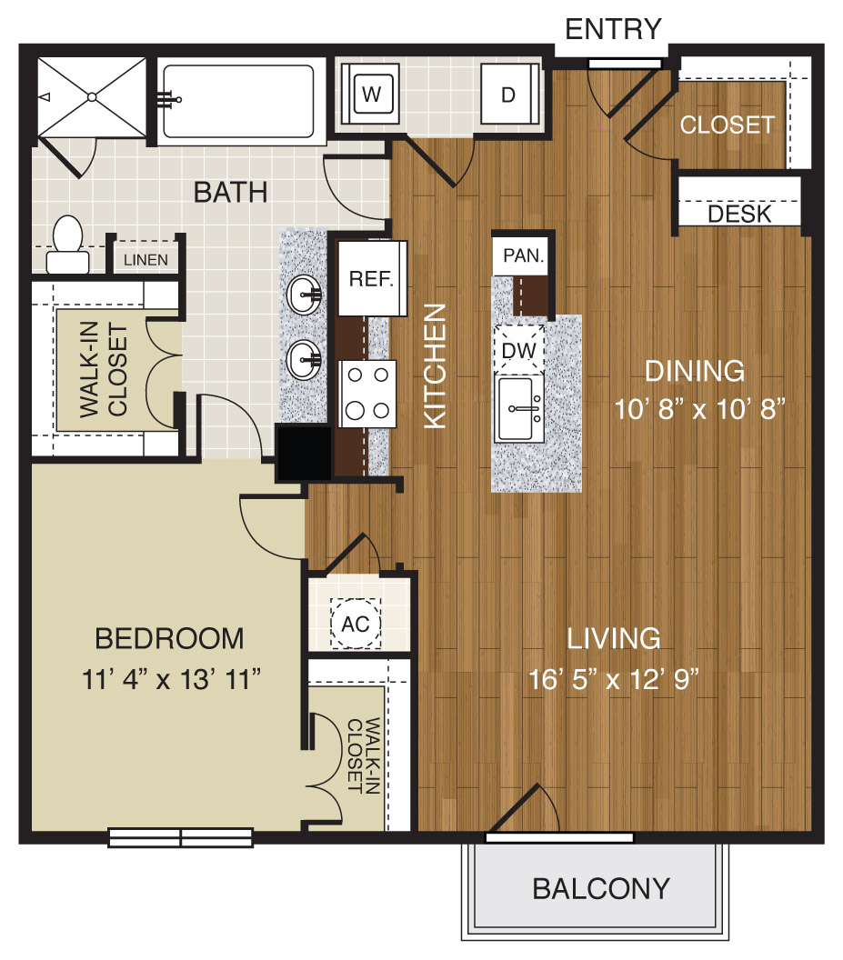 755 sq. ft. A2.2a floor plan