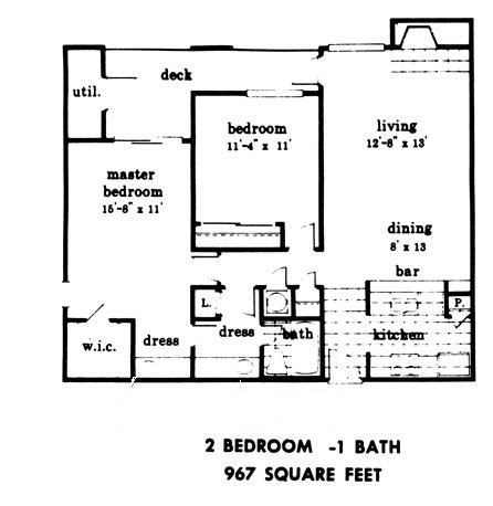 967 sq. ft. floor plan