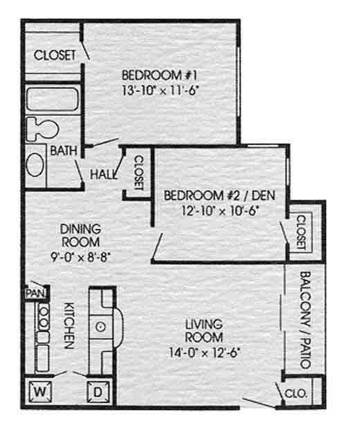 790 sq. ft. B1 floor plan