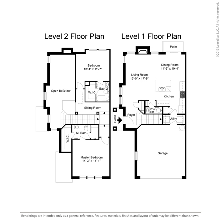 1,405 sq. ft. B2 floor plan