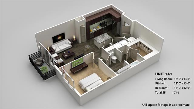 744 sq. ft. 1A1 floor plan
