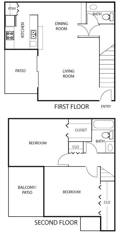 1,080 sq. ft. B3 floor plan