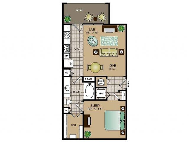 646 sq. ft. E1 floor plan