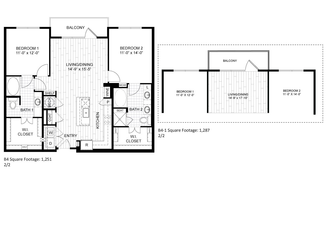 1,251 sq. ft. B4A floor plan