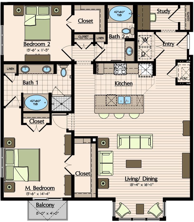1,531 sq. ft. B4.3 floor plan