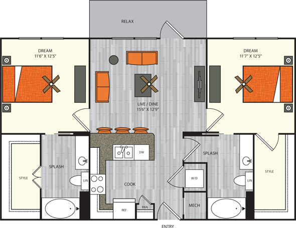 1,006 sq. ft. B1 floor plan