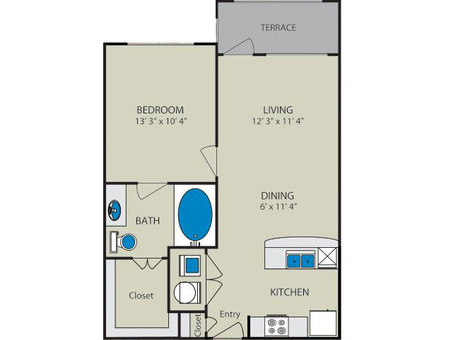 633 sq. ft. Sabine A1 floor plan