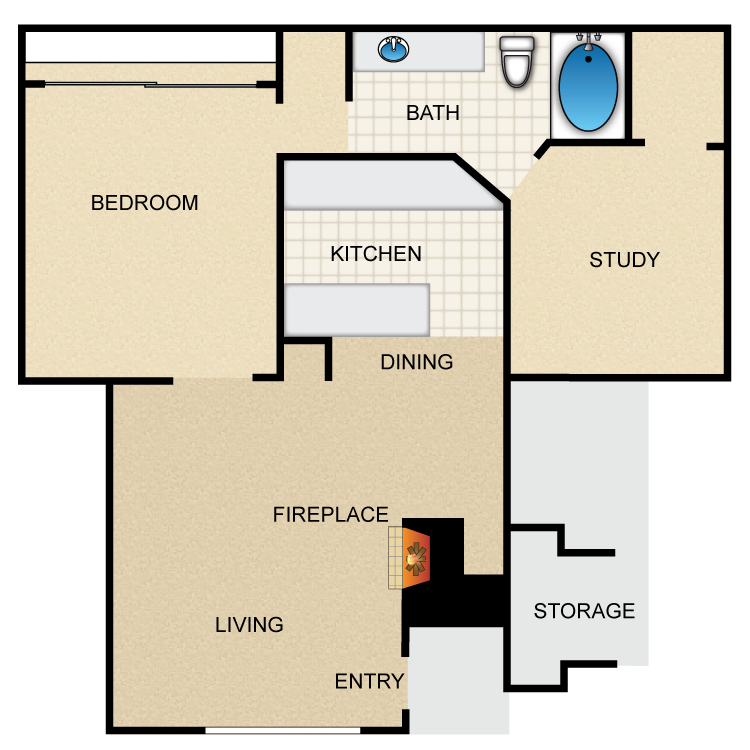 900 sq. ft. Ruidoso floor plan