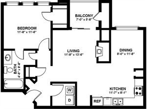 770 sq. ft. A3 floor plan
