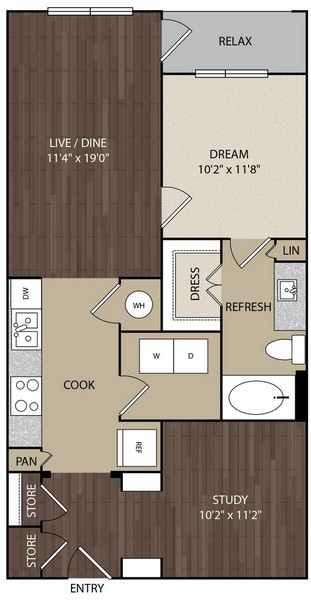 825 sq. ft. A6A floor plan
