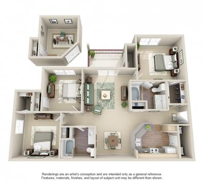 1,253 sq. ft. Grand Cayman Study floor plan
