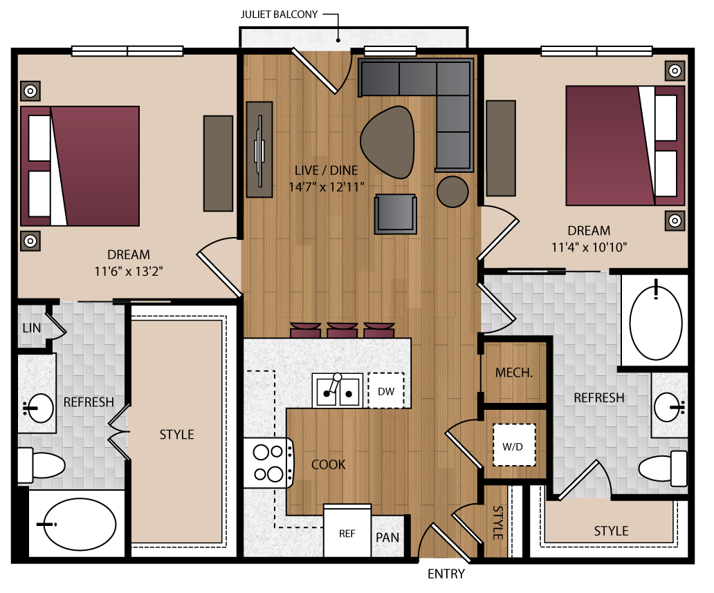 1,029 sq. ft. B1.1 floor plan