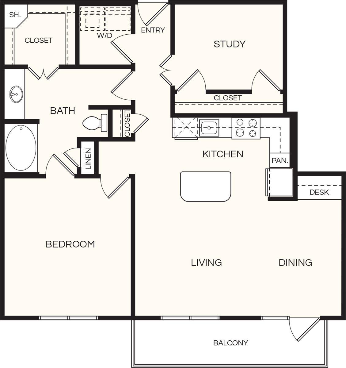 1,076 sq. ft. A5 floor plan