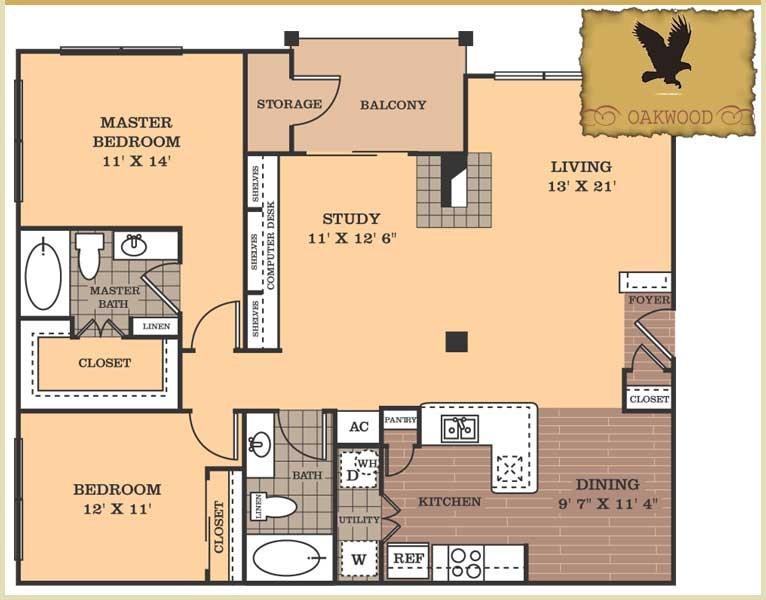 1,378 sq. ft. Oakwood floor plan