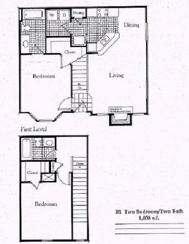 1,026 sq. ft. B2/50% floor plan