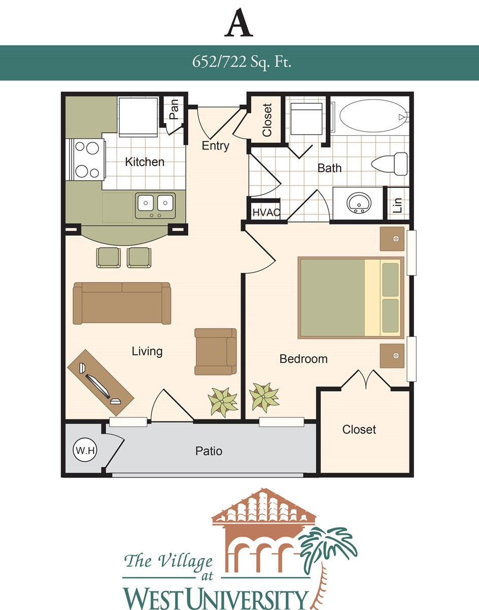 652 sq. ft. to 722 sq. ft. A floor plan
