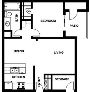 746 sq. ft. A2 floor plan