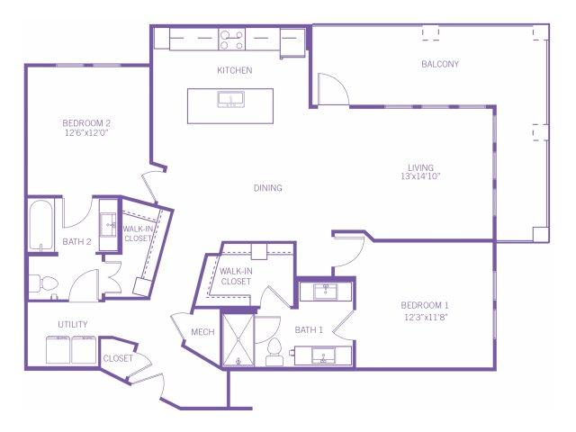 1,295 sq. ft. B4 floor plan
