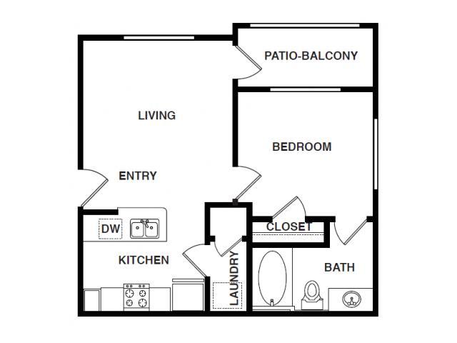 579 sq. ft. A floor plan