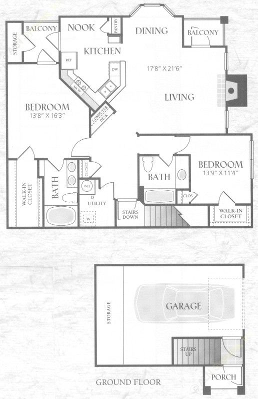 1,305 sq. ft. B2U2G floor plan